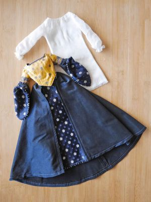 Miniflowers silk blue-yellow 82