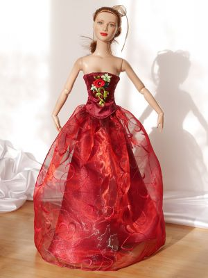 Wine-red-organza rose 11