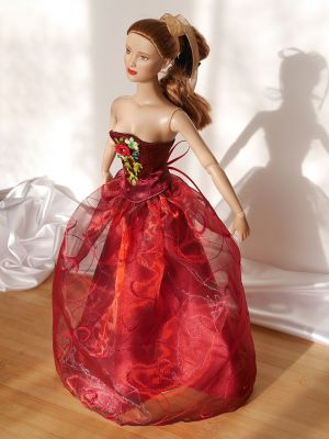 Wine-red-organza rose 12