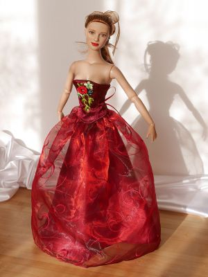 Wine-red-organza rose 14