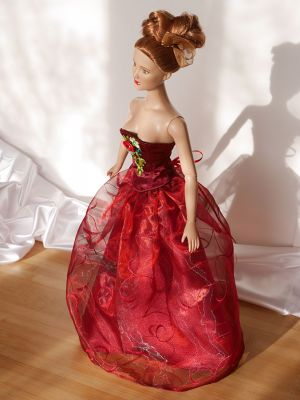 Wine-red-organza rose 16