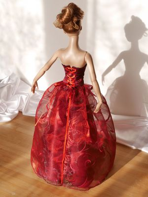 Wine-red-organza rose 22