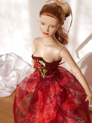 Wine-red-organza rose 31
